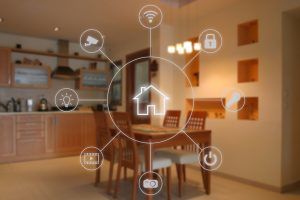 Kitchen with smart home icons overlaid